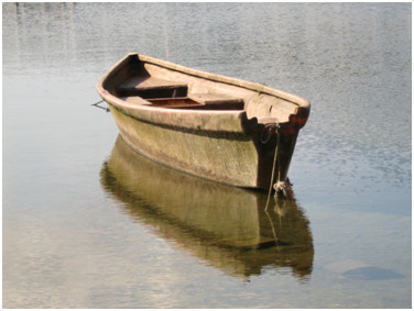 A boat 'floating' on water